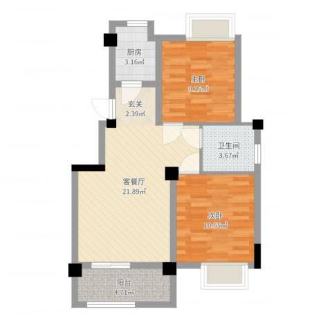澳海胥江湾2室2厅1卫1厨66.00㎡户型图
