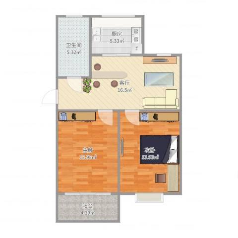 御苑家园2室1厅1卫1厨74.00㎡户型图