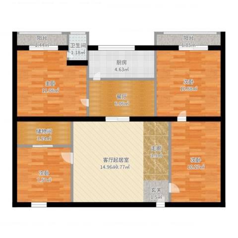 圆梦园4室1厅1卫1厨97.00㎡户型图