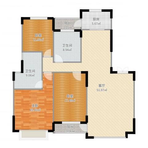 中信城1室1厅2卫1厨161.00㎡户型图