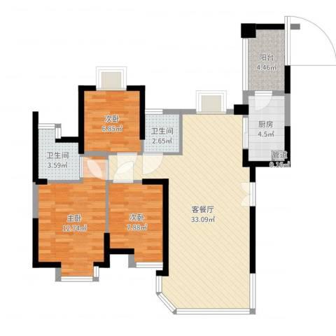 新景翡翠苑3室2厅3卫1厨95.00㎡户型图