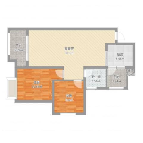 协信彩云湖2室2厅1卫1厨85.00㎡户型图