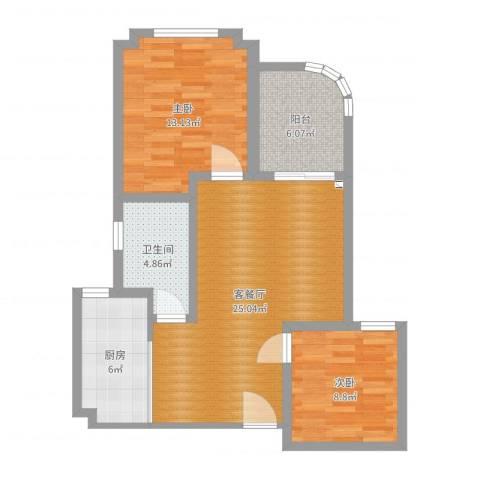 圣博未来城2室2厅1卫1厨80.00㎡户型图