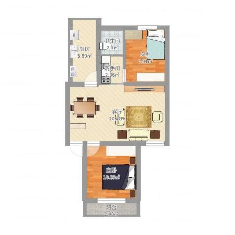 三塘桃园2室1厅1卫1厨65.00㎡户型图