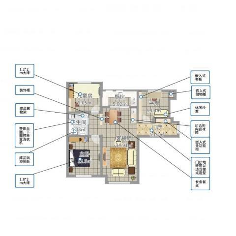 保定鸿坤理想湾3室2厅1卫1厨94.00㎡户型图