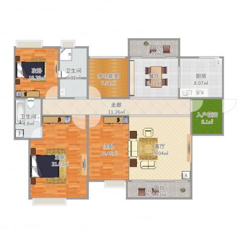 卧龙五洲世纪城3室2厅2卫1厨155.00㎡户型图