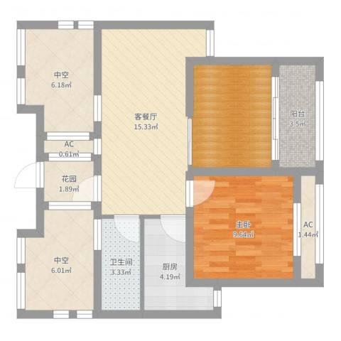 徐州市御园1室2厅1卫1厨75.00㎡户型图