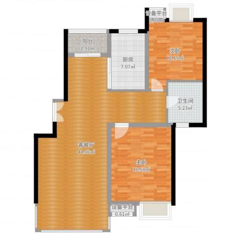 万源城逸郡2室2厅1卫1厨111.00㎡户型图