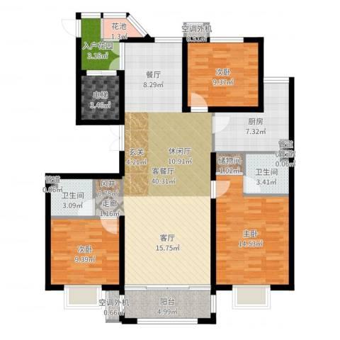 建投・御河新城3室2厅2卫1厨129.00㎡户型图
