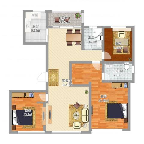 宝华・天泽府3室2厅2卫1厨124.00㎡户型图