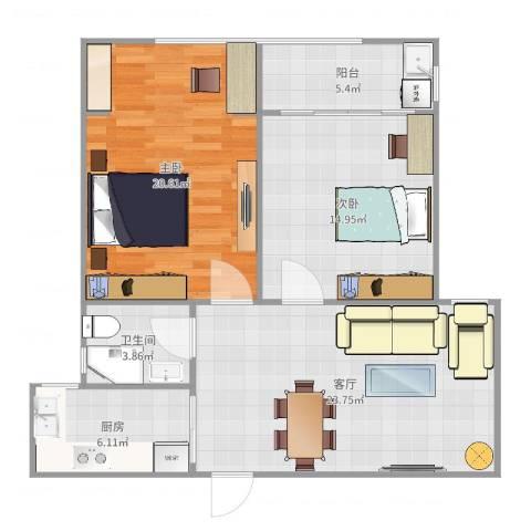 碧水华庭2室1厅1卫1厨93.00㎡户型图