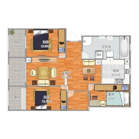 御苑家园3室2厅1卫1厨140.00㎡户型图