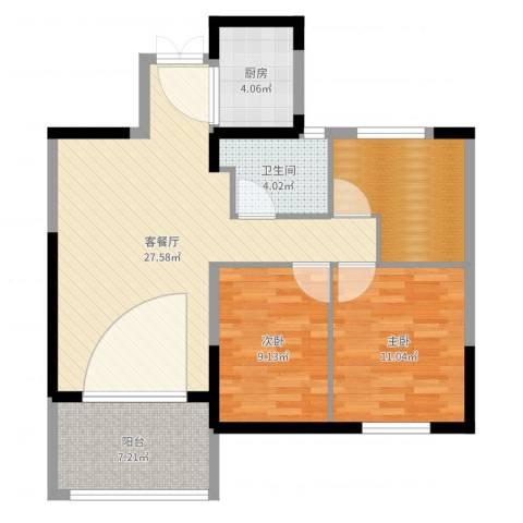 云厦·阳光福邸2室2厅2卫1厨88.00㎡户型图
