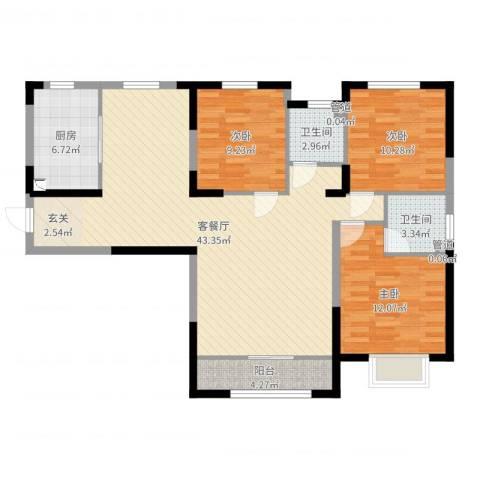 禹州尊府3室2厅2卫1厨115.00㎡户型图