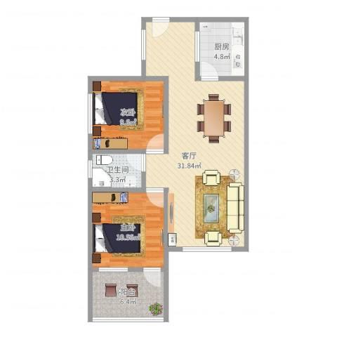 深业东城上邸2室1厅1卫1厨83.00㎡户型图
