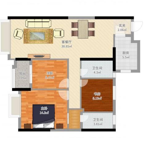 柏悦公馆3室2厅2卫1厨110.00㎡户型图
