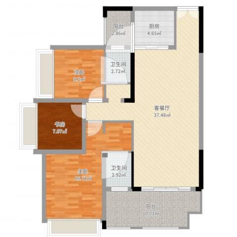 花滩国际新城丁香郡3室2厅2卫1厨93.31㎡户型图