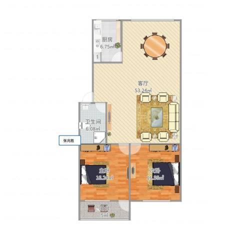 辛甸花园2室1厅1卫1厨130.00㎡户型图