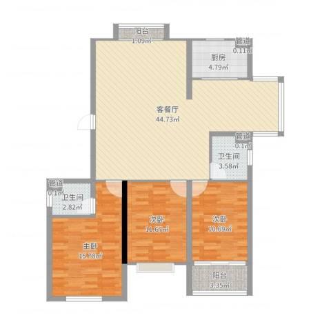 飞宇花园南区3室2厅2卫1厨124.00㎡户型图