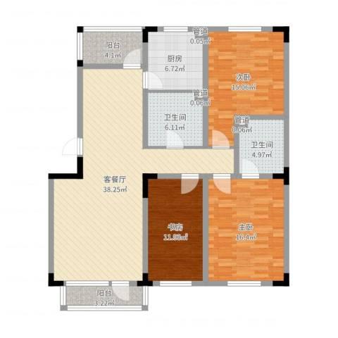 保利林语3室2厅5卫1厨134.00㎡户型图