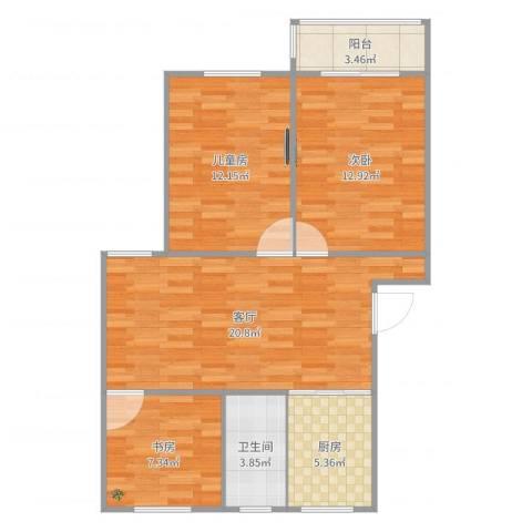 现代花园3室1厅1卫1厨82.00㎡户型图