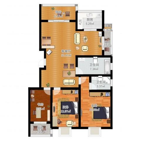 天泽水岸3室2厅2卫1厨127.00㎡户型图