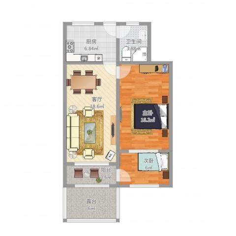 静怡村2室1厅1卫1厨76.00㎡户型图