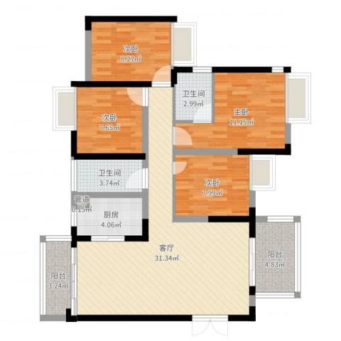 江湾公馆(一期)4室1厅2卫1厨107.00㎡户型图