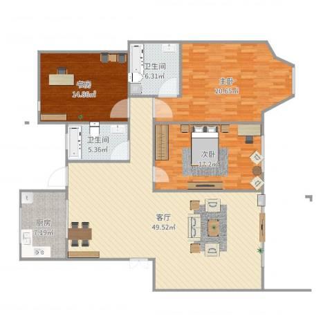 高恒・东方明珠花园3室1厅2卫1厨151.00㎡户型图
