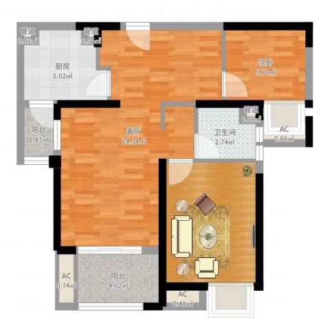 城开珑庭1室1厅1卫1厨70.00㎡户型图