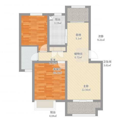 京都城2室2厅1卫1厨81.00㎡户型图