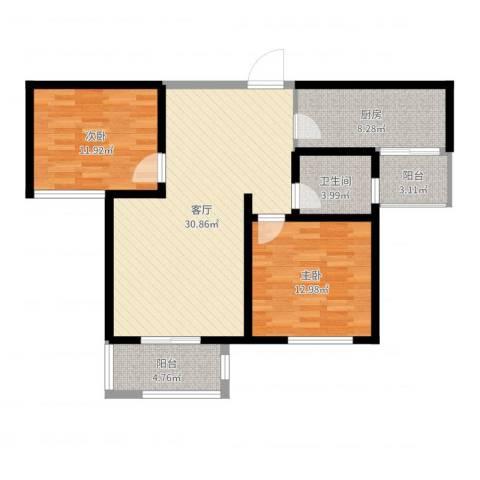 三丰中心思想2室1厅1卫1厨95.00㎡户型图