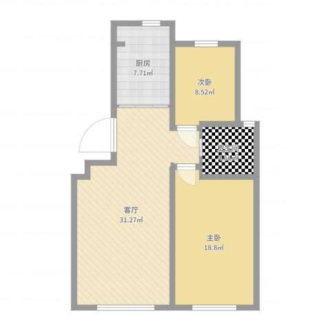 鑫阳家园2室1厅1卫1厨88.00㎡户型图