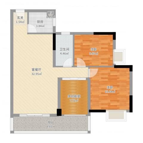 二城竹苑2室2厅1卫1厨102.00㎡户型图