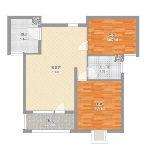 天一海尚阳光2室2厅3卫1厨79.00㎡户型图