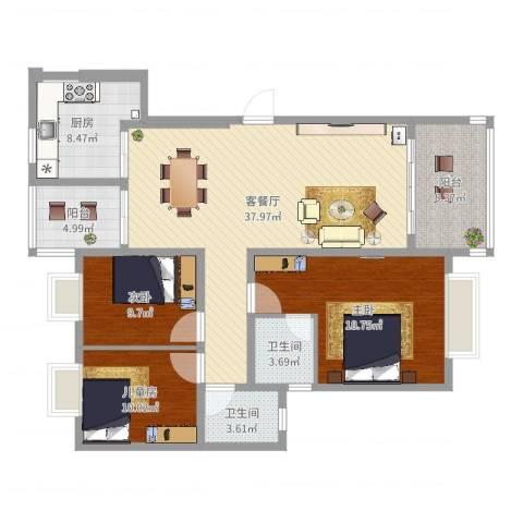 广场花园3室2厅2卫1厨132.00㎡户型图