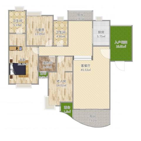 怡丰新城3室2厅2卫1厨165.00㎡户型图