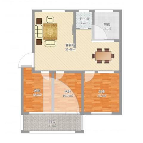 凤栖苑3室2厅1卫1厨109.00㎡户型图