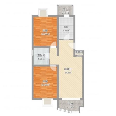 观景园2室2厅1卫1厨86.00㎡户型图