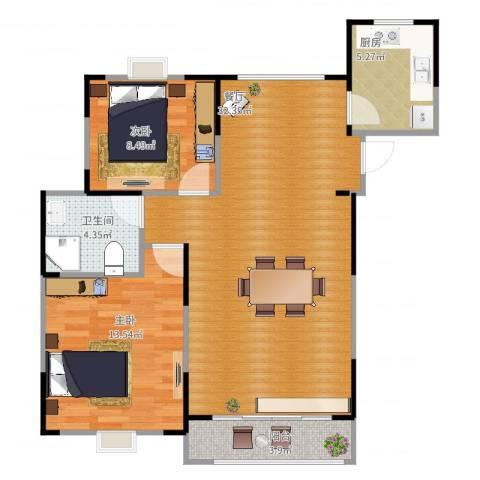 上铁银欣花园2室1厅1卫1厨91.00㎡户型图