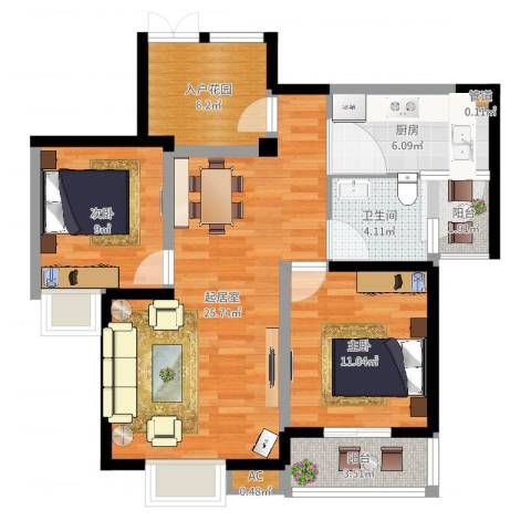 世纪城龙佑苑2室1厅3卫1厨85.00㎡户型图