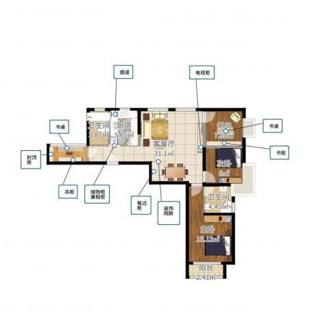 北辰红星国际广场3室2厅3卫1厨103.00㎡户型图