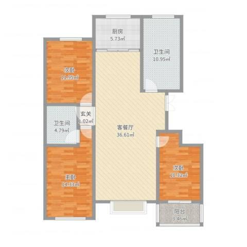 恒泰丽景3室2厅2卫1厨124.00㎡户型图