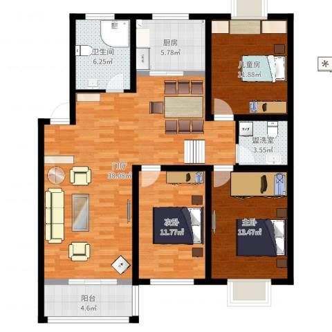 华侨花苑3室2厅1卫1厨119.00㎡户型图