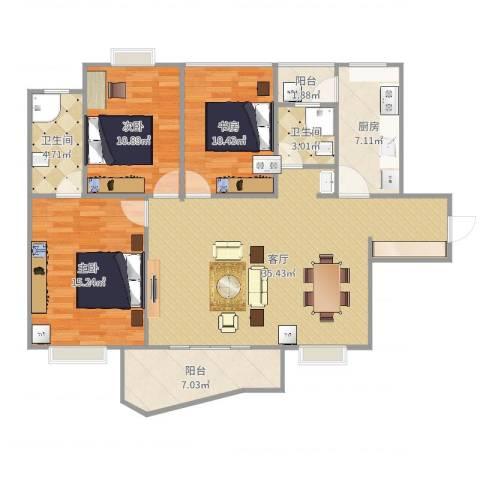 名家翡翠花园3室1厅2卫1厨120.00㎡户型图