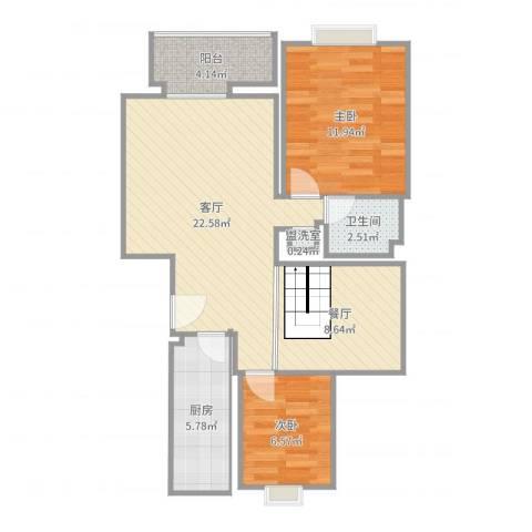 双兴北区2室4厅1卫1厨85.00㎡户型图