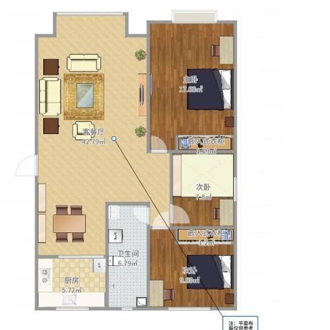 酷家乐-巴音郭楞库尔勒市亲水湾两室两厅一卫一厨3室2厅1卫1厨116.00㎡户型图