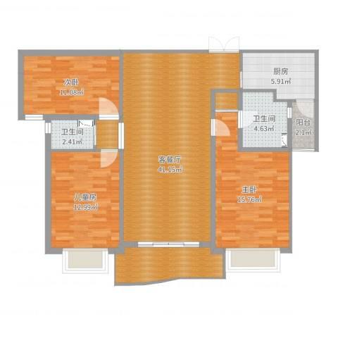 天际花园三期3室2厅2卫1厨123.00㎡户型图