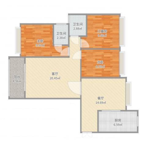 四会大隆湾3室2厅2卫1厨100.00㎡户型图