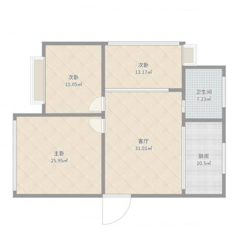 钱湖人家3室1厅1卫1厨129.00㎡户型图